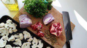 Roasted Cauliflower Salad prep
