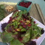 Watercress Avocado Almond Salad with Rasberry Dressing