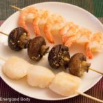Asian-Style Shrimps, Scallops & Veggie Skewers Recipe