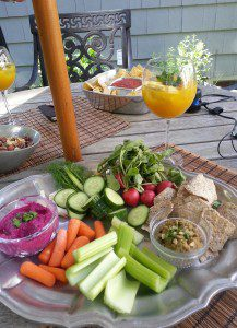 healthy vegetables and dip